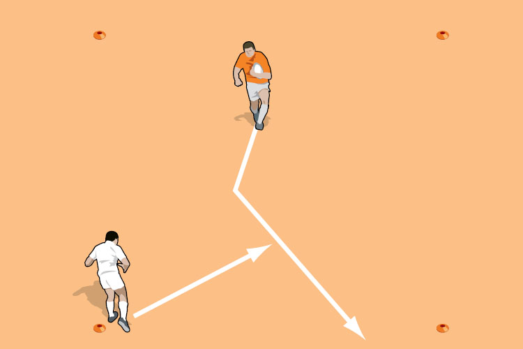 The defender can't move until the ball carrier starts running forwards.