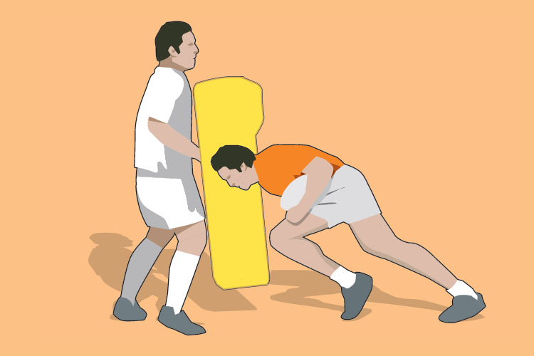"""The ball carrier """"power steps"""" into contact and then fights to stay on his feet."""